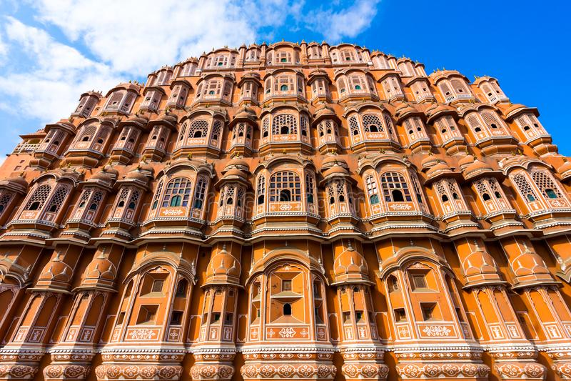 Закройте вверх по Hawa Mahal, дворцу ветров стоковые изображения rf