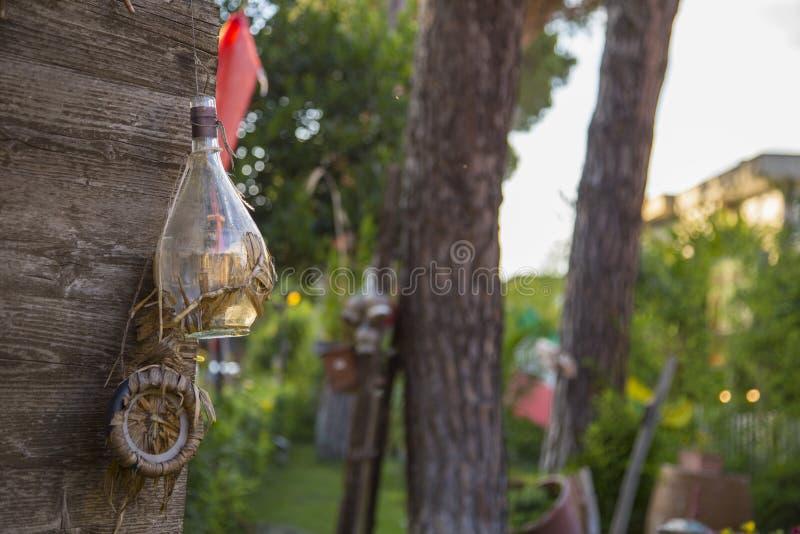Закройте вверх 3 пустых склянок вина вися от дерева стоковое изображение rf
