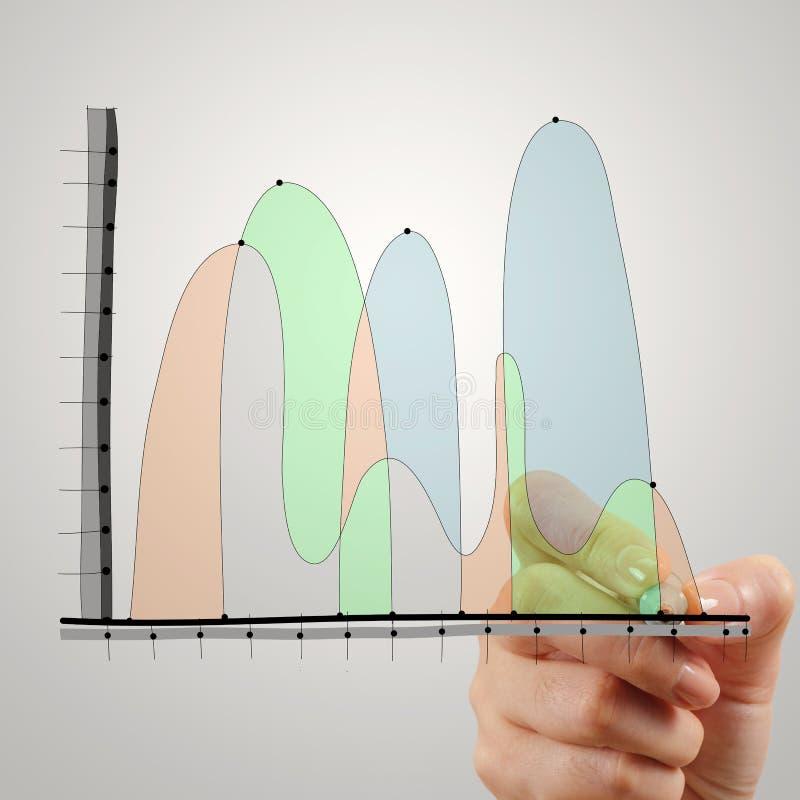 Закройте вверх руки рисуя абстрактную стратегию бизнеса стоковые фотографии rf