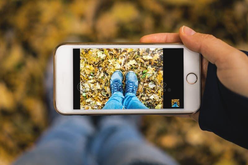 Закройте вверх рук молодой женщины совместно держа современный смартфон технологии и фотографируя selfie ее ноги и ноги i стоковое изображение rf