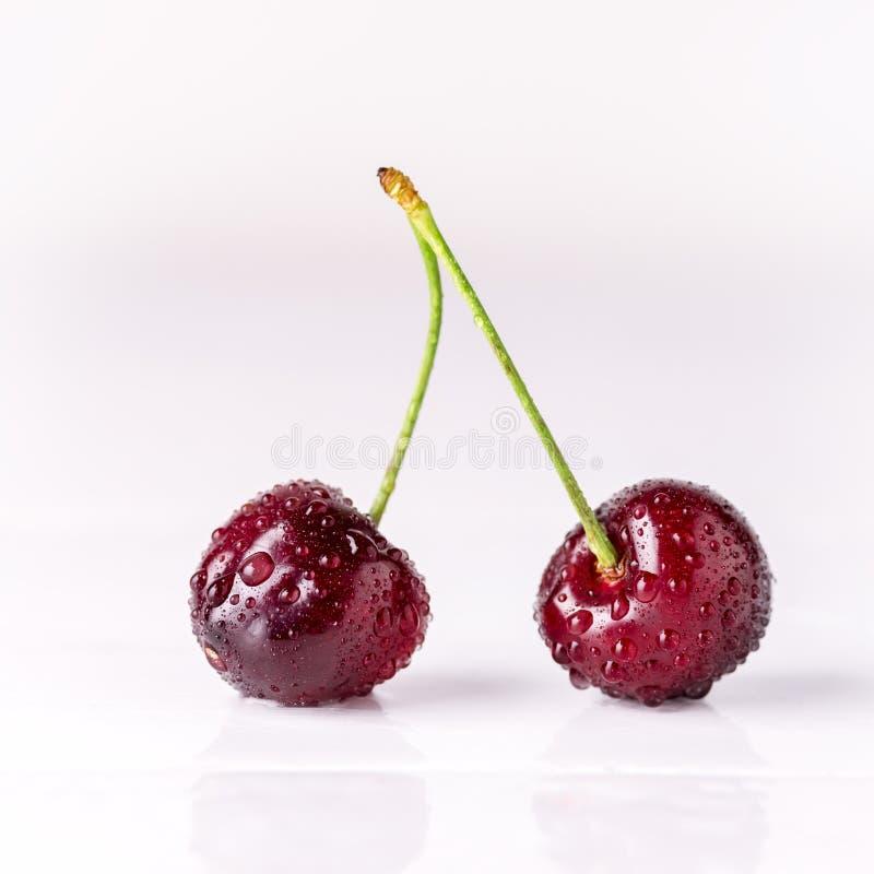 Закройте вверх свежих ягод вишни с падениями воды стоковые изображения rf
