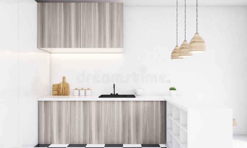 Закройте вверх светлого деревянного счетчика кухни на яркий день бесплатная иллюстрация
