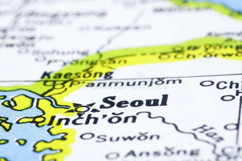 Закройте вверх Сеул на карте, Корее стоковая фотография