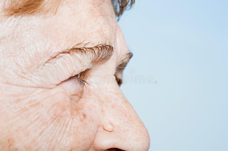 Закройте вверх стороны старшей женщины стоковая фотография rf