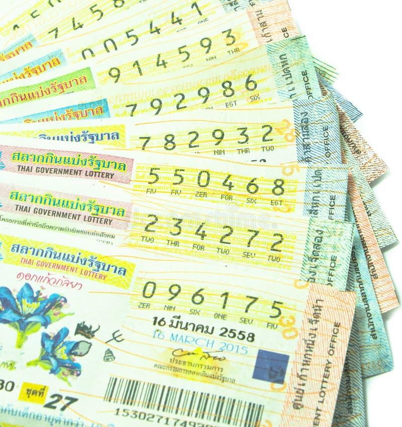 Закройте вверх тайских билетов лотереи стоковая фотография