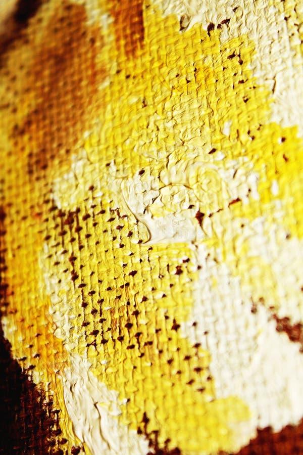 Закройте вверх текстуру картины маслом с ходами и холстом щетки стоковое изображение
