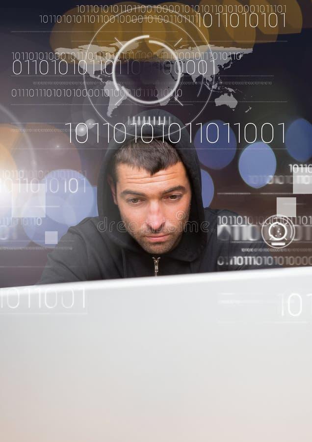 Закройте вверх хакера используя компьтер-книжку за цифровым экраном стоковые изображения