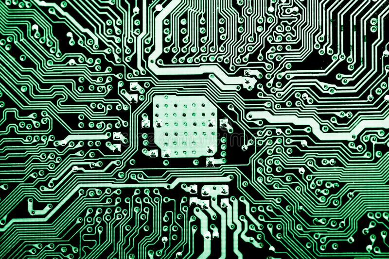 Закройте вверх цепей электронных на доске логики предпосылки компьютера технологии Mainboard, материнской плате C.P.U., главном п стоковые изображения rf