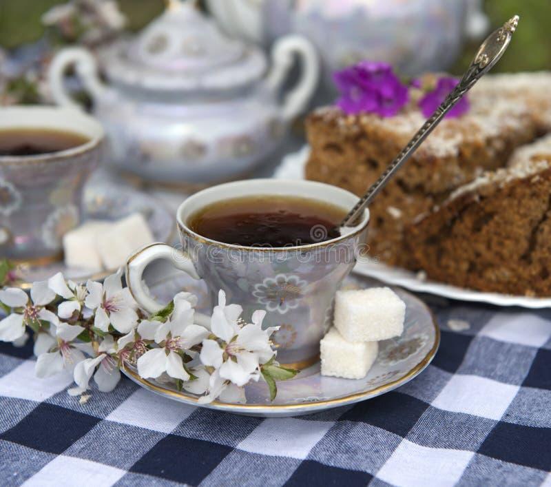 Закройте вверх чашки чаю с домашним тортом стоковые фотографии rf