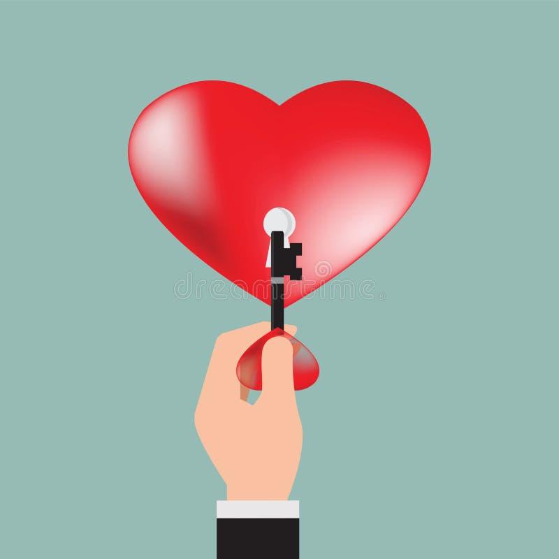 Закройте вверх человеческой руки при ключ сердца раскрывая красное сердце иллюстрация штока