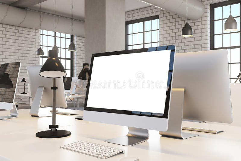 Закройте вверх экрана компьютера, офиса иллюстрация вектора