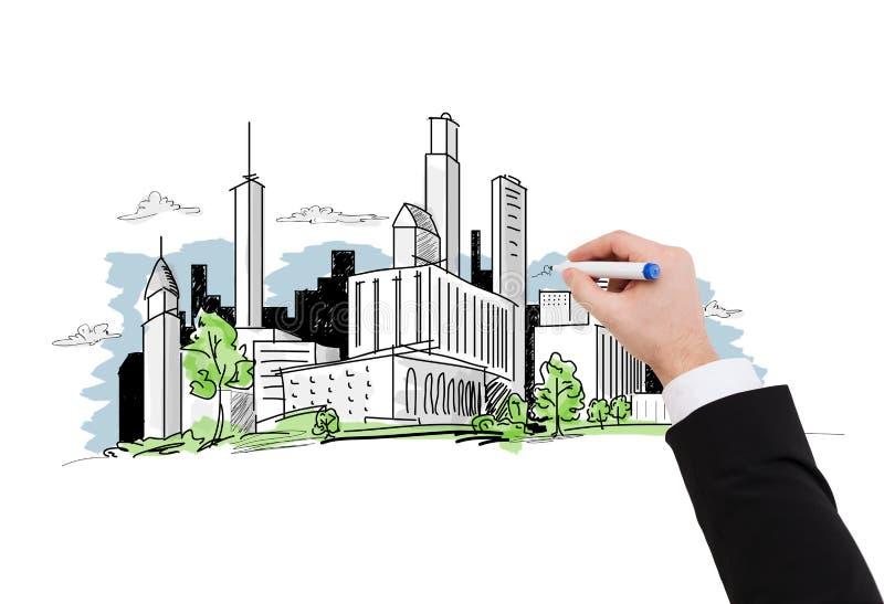 Закройте вверх эскиза города чертежа бизнесмена стоковые фото