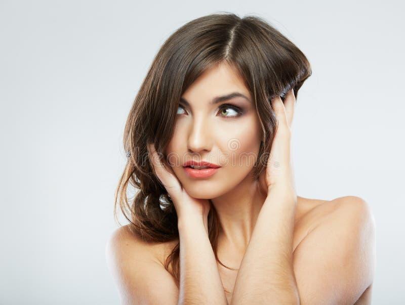 закройте лицевая сторона волосы длиной стоковые изображения rf
