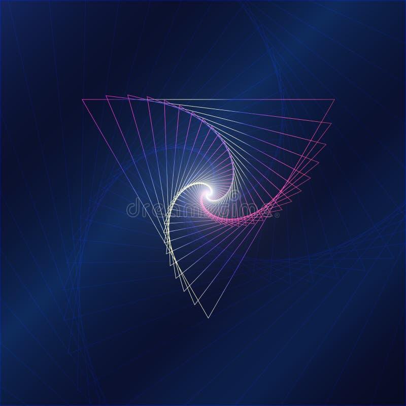 Закрутка абстрактной полигональной формы треугольника moving на предпосылке цвета разнообразия иллюстрация вектора