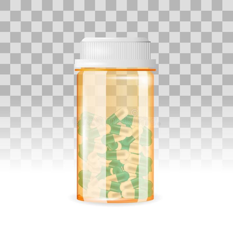 Закрытая бутылка капсулы сформировала пилюльки на прозрачной предпосылке Реалистическая иллюстрация вектора иллюстрация вектора