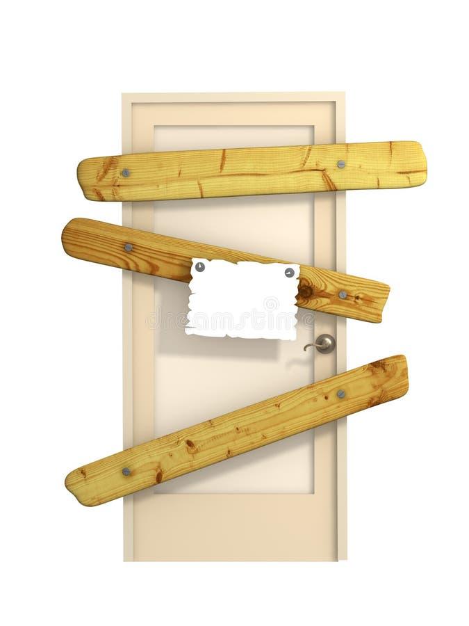 закрытая дверь 3d иллюстрация вектора