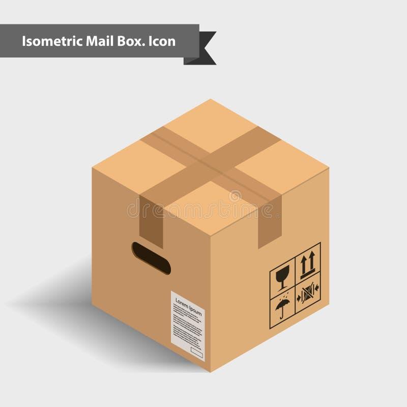 Закрытая картонная коробка с лентой в равновеликой проекции, pers иллюстрация вектора
