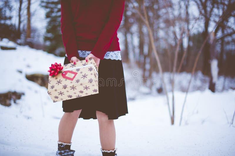 Закрытая фотография женщины, держащей рождественский подарок за спиной с размытым фоном стоковые фото