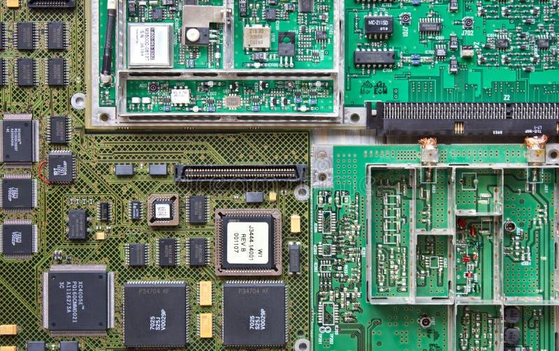 Закрытие просмотра электронных системных плат стоковое изображение rf