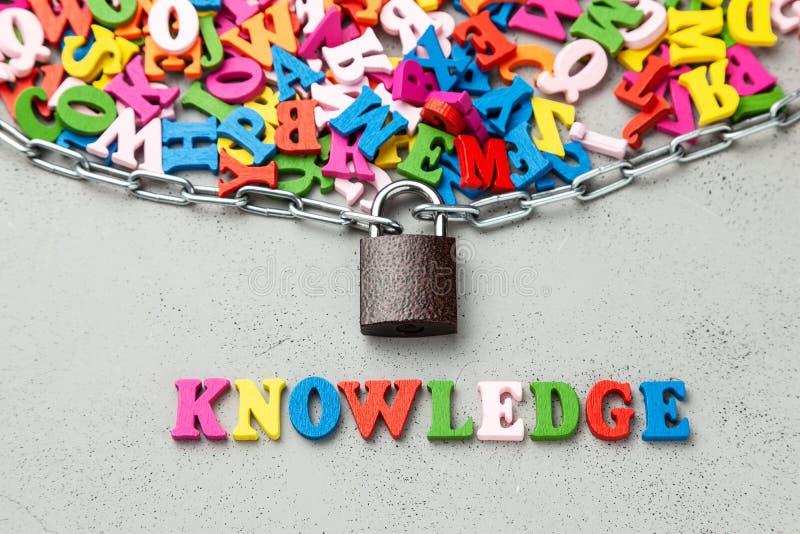 Закрытое секретное знание Запертые письма символа информации в оболочке в цепном и, который стоковые фотографии rf