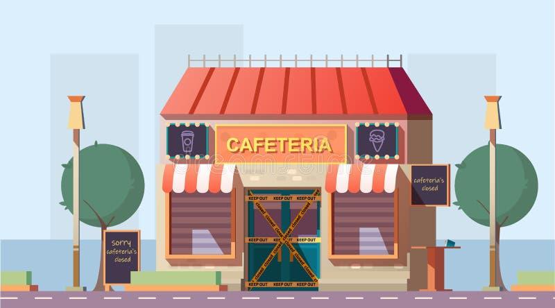 Закрыто из-за вектора карикатур кафе-банкротов иллюстрация вектора