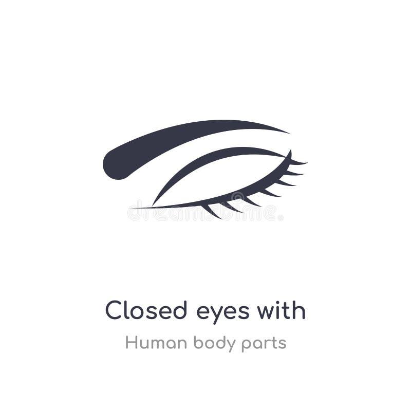 закрытые глаза с плетками и значком плана чел r editable утончите иллюстрация вектора