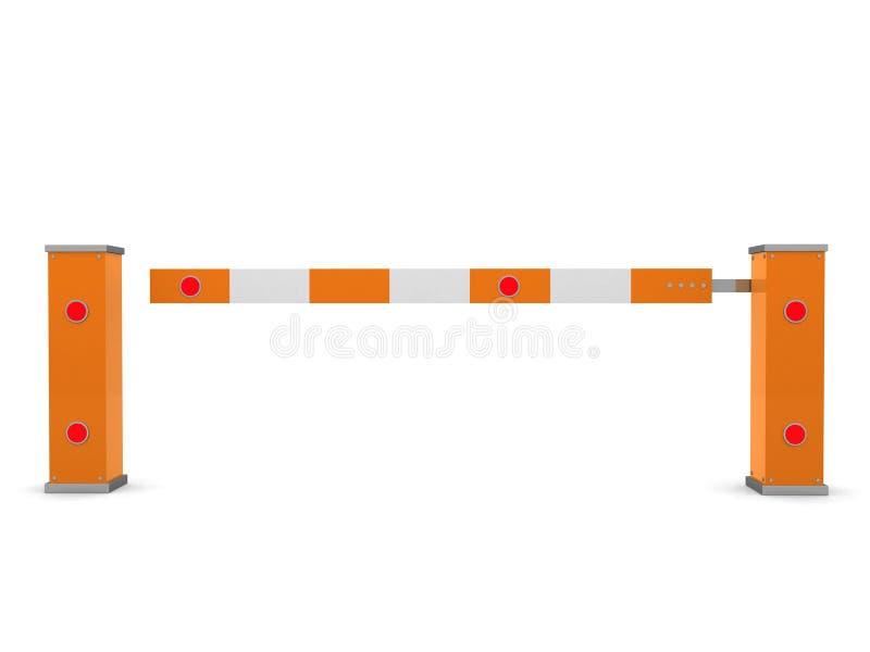 Закрытый барьер автомобиля изолированный на бело- 3d представляет бесплатная иллюстрация