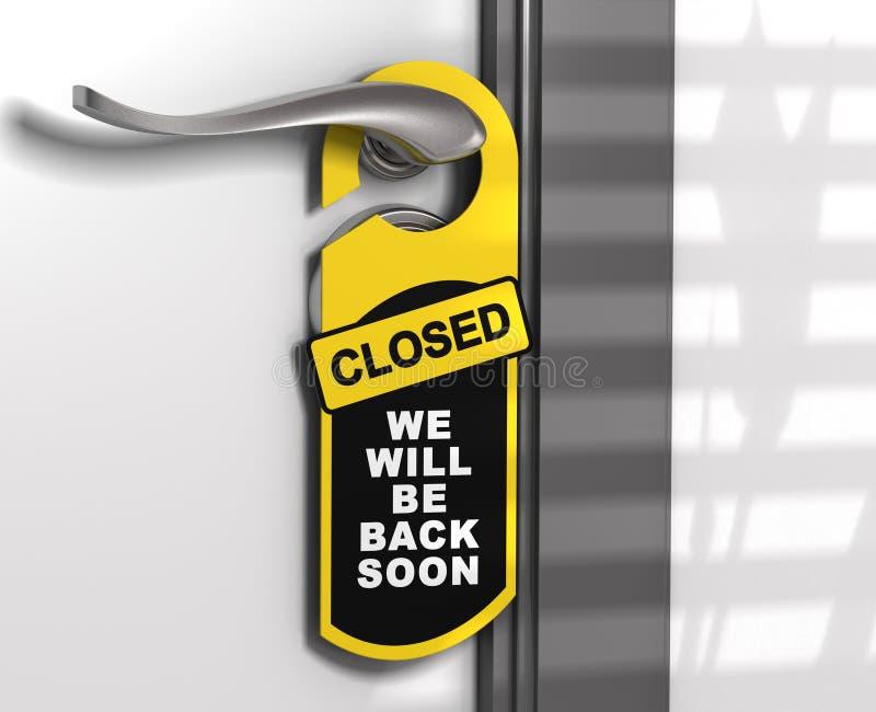 Закрытый знак, вешалка двери иллюстрация штока