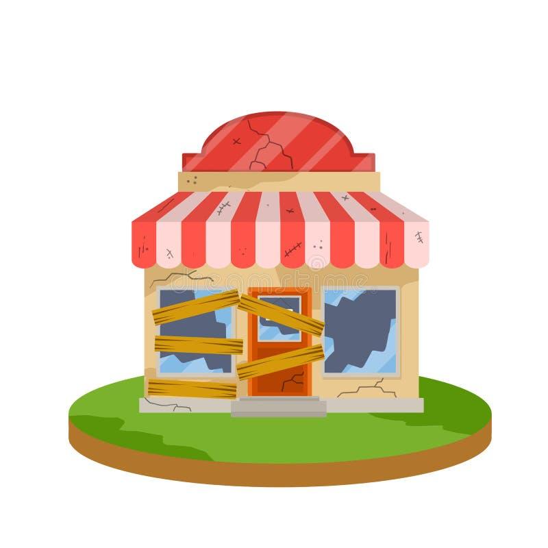 Закрытый магазин Иллюстрация шаржа плоская иллюстрация штока