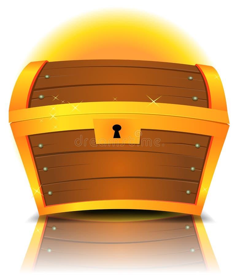 Закрытый сундук с сокровищами шаржа иллюстрация вектора
