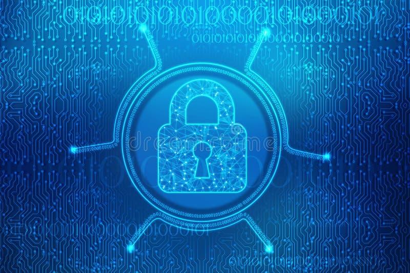 Закрытый Padlock на цифровой предпосылке предпосылки, безопасности кибер и безопасности интернета иллюстрация штока