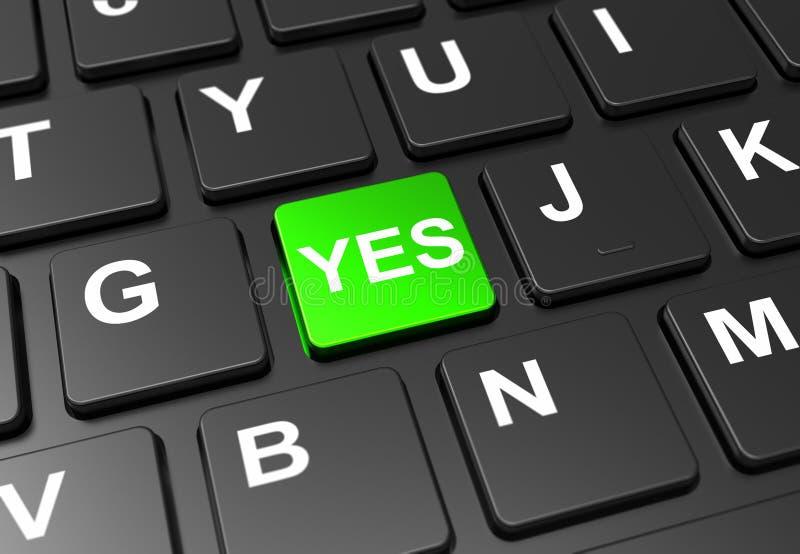Закрыть зеленую кнопку с подписью yes на черной клавиатуре иллюстрация штока