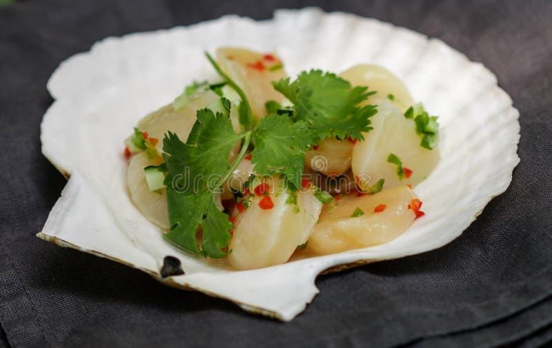 Закуска деликатеса свежего scallop с лимоном или соком лайма, перцем chili, красным луком, cilantro, сезамом и специями стоковое изображение