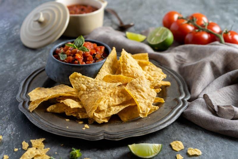 Закуска для партии, обломоков tortilla nachos мексиканской кухни и окуная сал стоковое фото rf