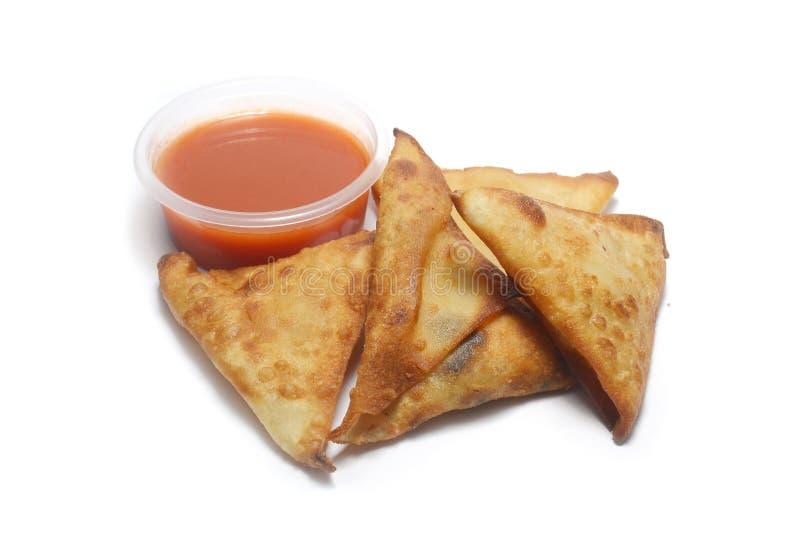 Закуска и chili Samosa стоковая фотография rf