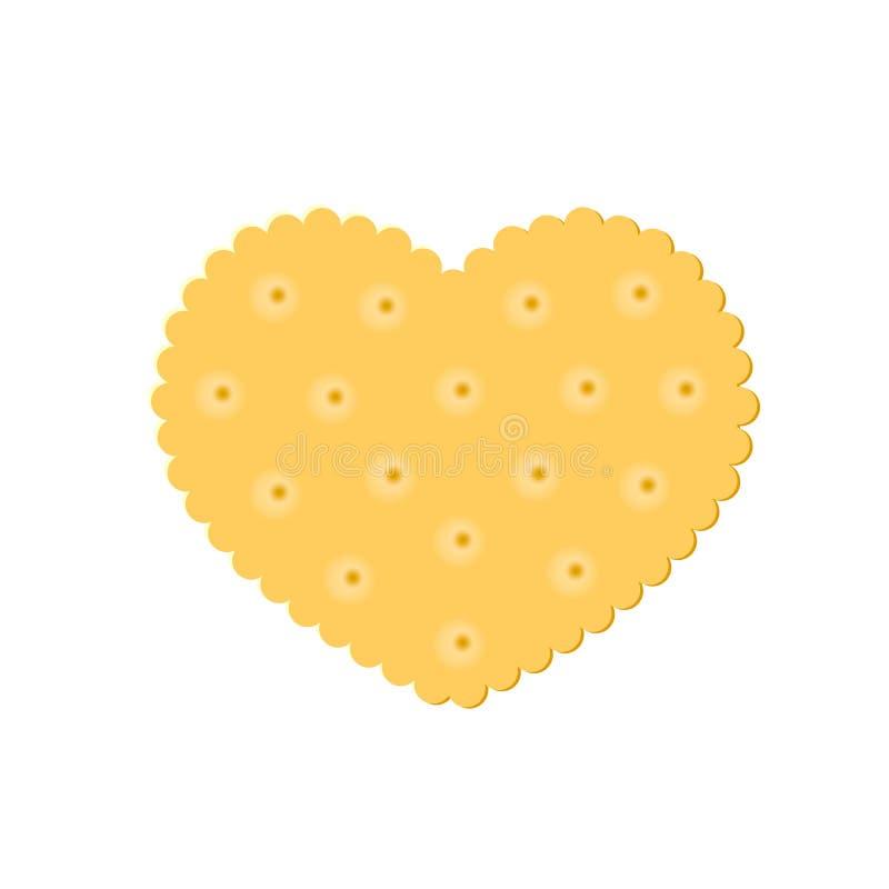 Закуска печенья сердца хрустящая изолированная на белой предпосылке иллюстрация вектора