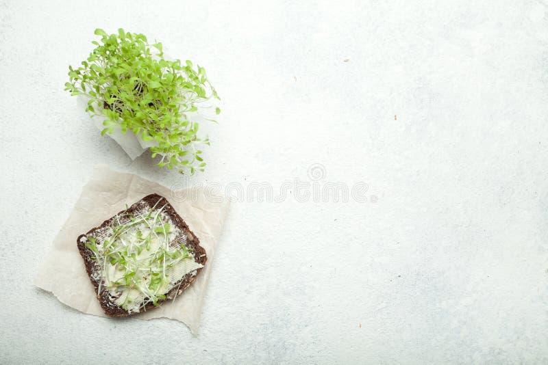 Закуска с черным хлебом всей пшеницы на бумажном субстрате, пачке микро- зеленого цвета рядом : стоковая фотография