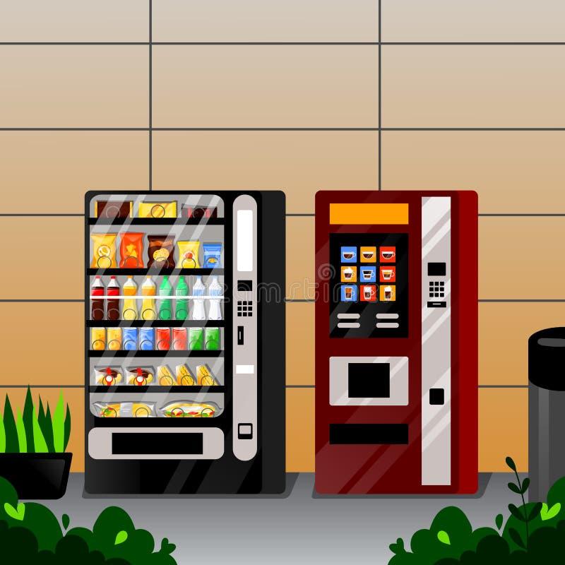 Закуски торгового автомата, вода и машины coffe автоматические Llustration мультфильма Vetor плоское Еда улицы продавая обслужива иллюстрация штока