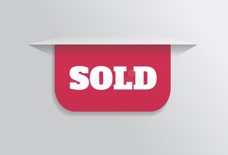 Закладка, стикер, ярлык, бирка при проданный текст бесплатная иллюстрация