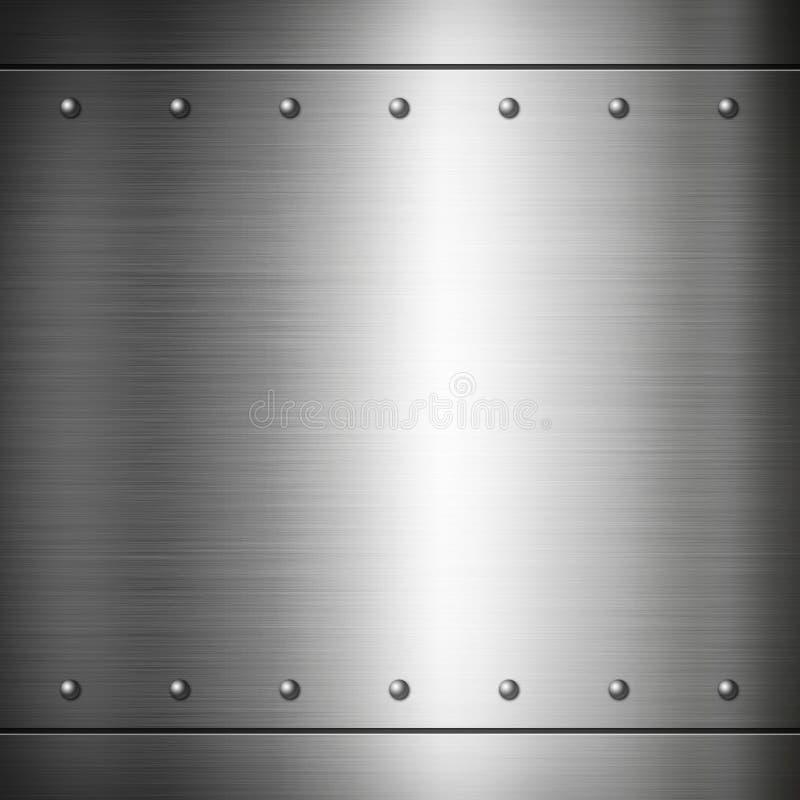 Заклепанная сталью почищенная щеткой текстура плиты иллюстрация вектора