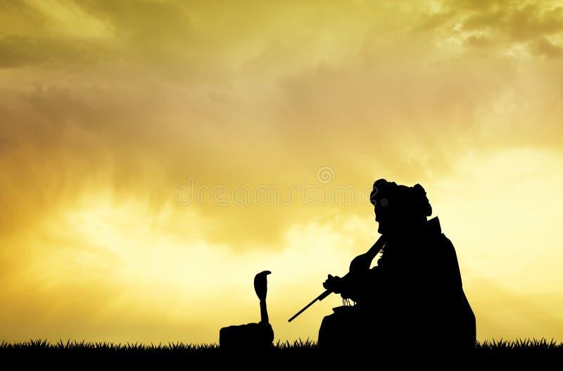 Заклинатель змей на заходе солнца иллюстрация штока
