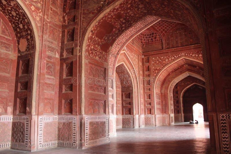 зала внутри mahal taj стоковая фотография rf