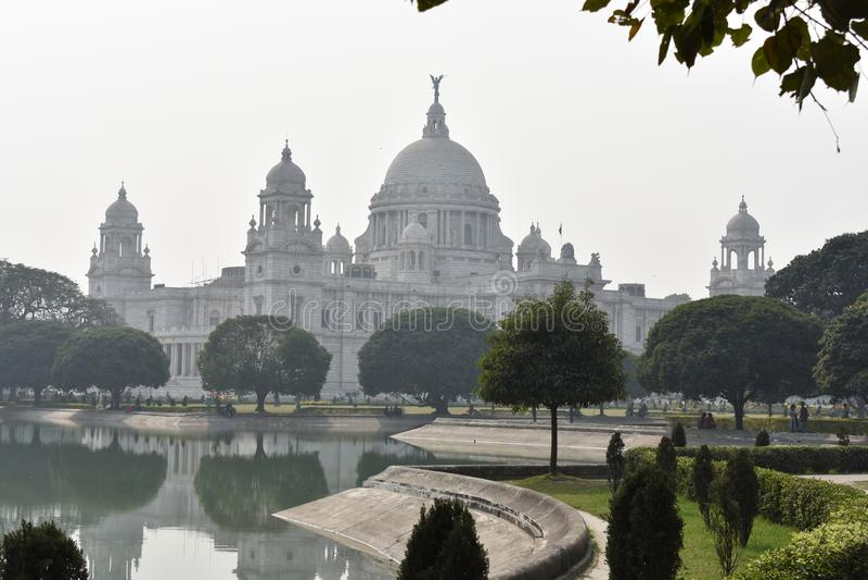 Зала Калькутта Виктории мемориальная, известный музей Индии стоковые изображения rf