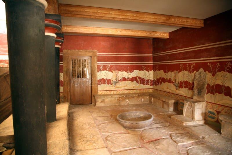 Зала трона knossos Крита стоковые изображения rf