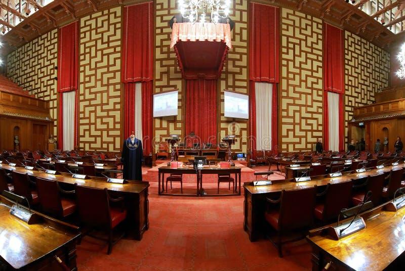 зала stockholm муниципалитета стоковое изображение