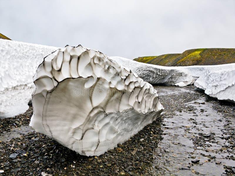 Залеми снежка детритовые в лете на новой земле стоковые изображения rf