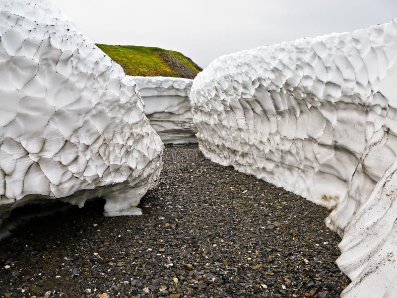 Залеми снежка детритовые в лете на новой земле стоковое изображение
