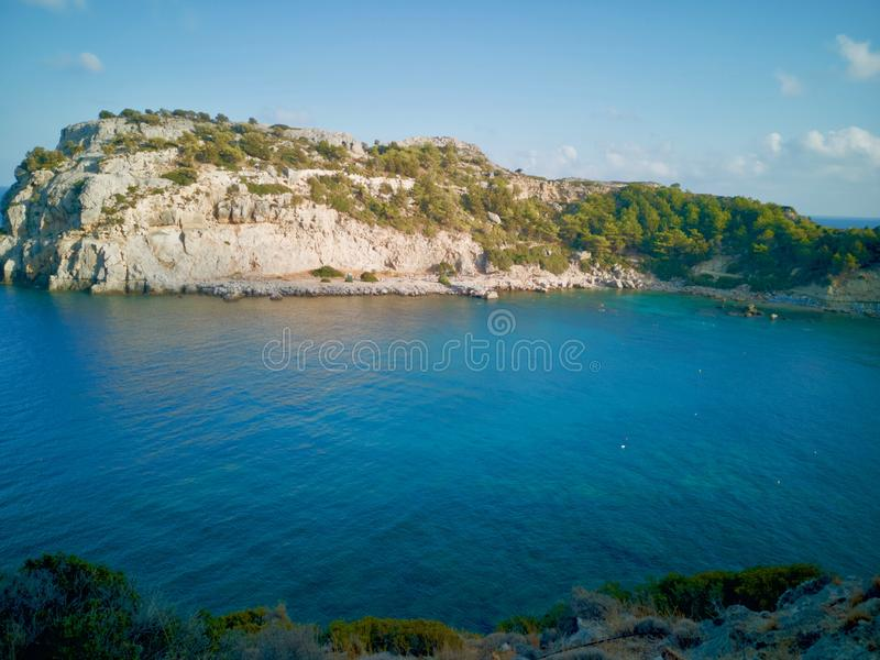 Залив Антония Quinn, Родос, Греция стоковые фотографии rf