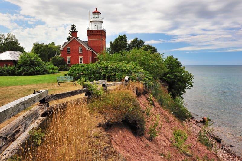 залив большой пункт Мичигана маяка стоковое изображение rf