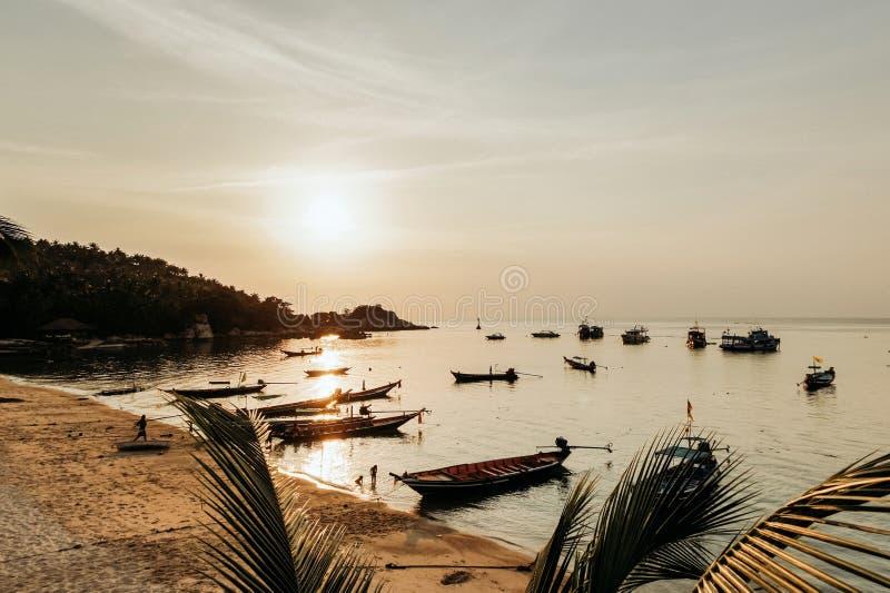 залив океана в Бали на заходе солнца стоковая фотография rf
